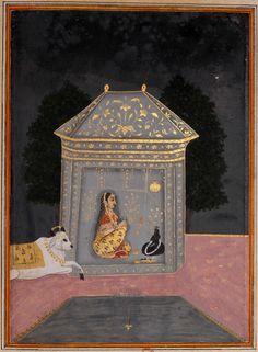 Lady Worshipping Shiva Linga - Rajput Ragamala Painting from a Manuscript, Circa 1800. For more high resoluton Indian artworks please visit http://oldindianarts.in