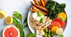 With fresh slices of grapefruit and roasted sweet potato, this healthy chicken salad bowl is perfect for lunch or dinner.