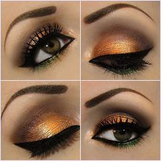 Copper and browns with a hint of emerald green #makeup #eyeshadow