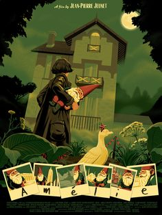 "monstertreeart: ""So pleased to announce this officially licensed poster I illustrated for Amélie! This poster is produced in collaboration with UGC France, and has been approved by none other than Jean-Pierre Jeunet and Audrey Tautou. Audrey Tautou, Kunst Poster, Poster S, Omg Posters, Films Cinema, Destin, Alternative Movie Posters, Black Dragon, Minimalist Movie Posters"