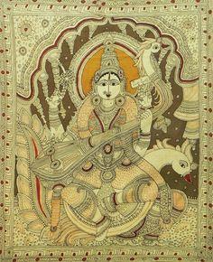 Goddess Saraswati (Kalamkari Paintings on Cotton - Unframed) Mysore Painting, Kalamkari Painting, Silk Painting, Ancient Indian Art, Indian Folk Art, Saraswati Devi, Madhubani Art, Buddha Art, Hindu Deities