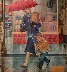 1954 Saturday Evening Post Cover, Mother & Son Leaving Grocery Store in the Rain - Amos Sewell Art - Collectible Wall Art Print Images Vintage, Vintage Ads, Vintage Posters, Umbrella Art, Under My Umbrella, Walking In The Rain, Singing In The Rain, Illustrations Vintage, Rain Art