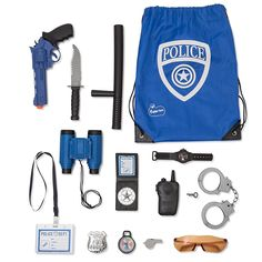 Police Role Play Kit - 14 Piece - Cop Toy Set - Gun Badge Handcuffs Binoculars - Policeman Accessories Swat Team - Detective Gear For Dress Up and Kids Costumes - Officer Bag for Halloween Included Toy Cars For Kids, Toys For Girls, Kids Toys, Spy Gear For Kids, Swat Costume Kids, Camping Toys, Kids Police, Mermaid Toys, Cardboard Car