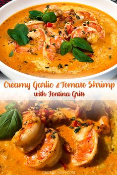 We gently poach juicy jumbo shrimp in a creamy tomato-based sauce loaded with fresh garlic and herbs, and pour it over the tastiest, creamiest grits spiked with fresh fontina cheese. A simple, easy flavor explosion. Shrimp And Grits Sauce Recipe, Shrimp In Tomato Sauce, Shrimp And Cheese Grits, Southern Shrimp And Grits, Grits Recipe, Creamy Tomato Sauce, Tomato Soup Recipes, Fish Recipes, Seafood Recipes