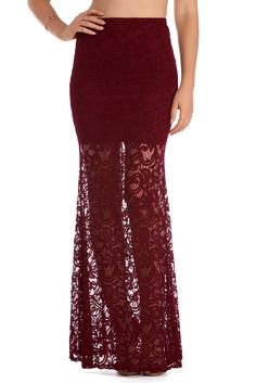 FINAL SALE- Burgundy All That Lace Maxi Skirt