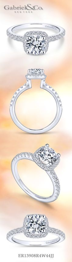 Gabriel NY - Voted #1 Most Preferred Fine Jewelry and Bridal Brand. Stunning 14k White Gold Round Halo  Engagement Ring.