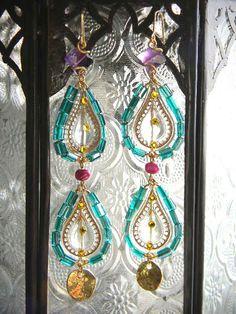 Exotic Blue  Gemstone Amethyst Dangle Earrings by OstaraTokyo, $65.00