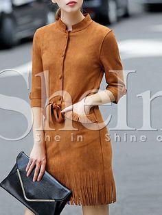 Vestido cuello redondo flecos -marrón 22.30