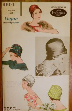 Vtg 1950s John Frederics Vogue 9601 Sewing Millinery PATTERN Cloche HAT 22 UnCUT