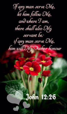 """Aki nekem szolgál, engem kövessen! Akkor, ahol én vagyok, ott lesz a szolgám is velem. Aki pedig engem szolgál, azt megbecsüli az Atya.""""John 12:26"""