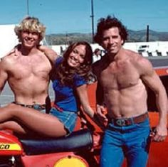 "More shirtless Bo and Luke Duke...What? Oh, yeah there's some Daisy Dukes there too on that girl!  Too bad John and Tom didn't wear ""daisy dukes"" too!!!!!"
