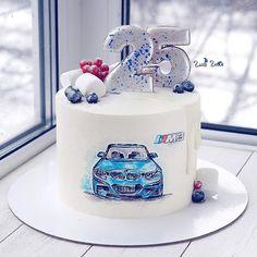 Golden Birthday Cakes, 17 Birthday Cake, Caramac Cake, Fondant Cakes, Cupcake Cakes, Bmw Cake, Rodjendanske Torte, Buttercream Cake Designs, School Cake