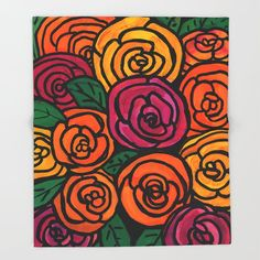 Ranunculus Blooms Throw Blanket by claudineintner Pen Art, Throw Blankets, Ranunculus, Art Decor, Crisp, Print Patterns, Sketch, Bloom, Couch