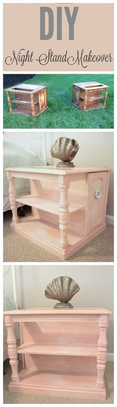 Check out this DIY night stand makeover.  Learn how to create beautiful beach theme and antique looking furniture with the color washing technique.  It is so simple and makes for a fun DIY home project!  This night stand is perfect for my beach theme bedroom design.