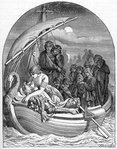 """Morte D'Arthur"" by Daniel Maclise, for the Moxon edition of Tennyson's poems, 1857 Fantasy World, Fantasy Art, Morgan Le Fay, King Arthur Legend, Mists Of Avalon, Medieval, Enchanted Island, Chivalry, Arte Popular"