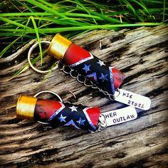 Wildflower Cowgirl - His and Her Rebel Flag Keychain, $19.95 (http://www.wildflowercowgirl.com/cowgirl-accessories/his-and-her-rebel-flag-keychain/) Rebel flag. 12 gauge. Shotgun shell keychain. Outlaw. Rebel. Country. Cowgirl accessory. Country keychain. His and her keychain. Wildflower Cowgirl. Western accessories.