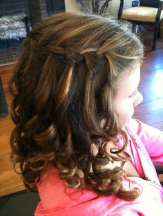 cute girls waterfall braid