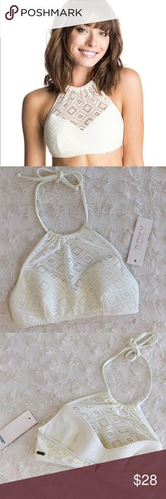 Roxy Hazy Daisy Highneck Bikini Top New with tags, never worn, only tried on. Has super cute crochet detailing, and an adjustable back strap. Size medium, would fit sizes 36B/34C/32D {IMO}. I personally am a size 34C and it fit me very well. Smoke/pet free home. Ask all questions before buying NO trades!❌ Bundle for a discount! •first photo is not mine• Roxy Swim Bikinis
