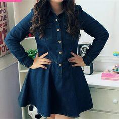 XL-4XL Plus Size Denim Long Sleeve Dresss SP153922