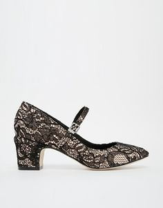Asos black lace overlay Mary Jane shoes with medium block heel.