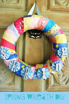 "Spring wreath.  *I'd spell ""Bloom"" so to use it all spring & summer long. :)"