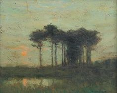 """Sunset"", Charles Warren Eaton, oil on board, 8 x 10"", private collection."