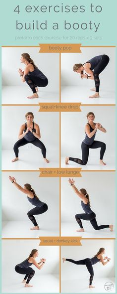 4 exercises to build a booty -- pin this butt workout -- www.nourishmovelo...