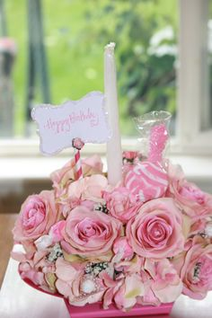 Floral Arrangement Happy Birthday Cake Candy Bouquet Silk Flower Centerpiece In Edible Shabby
