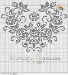 ru / Photo # 169 - Rare and beautiful scheme - Olgakam Cross Stitching, Cross Stitch Embroidery, Embroidery Patterns, Crochet Patterns, Cross Stitch Heart, Cross Stitch Flowers, Cross Stitch Designs, Cross Stitch Patterns, Filet Crochet Charts
