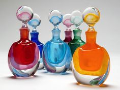 """Shadow"" Art-Glass Perfume Bottles 15cm by Eileen Gordon ♥≻★≺♥"