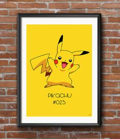 Pikachu Poster Purchase here: Pokemon Party Decorations, Tweety, Winnie The Pooh, Digital Prints, Pikachu, Disney Characters, Fictional Characters, Handmade Gifts, Poster