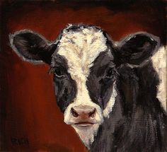 Holstein Miniature on Red by Denise Rich ~ x Cow Paintings On Canvas, Mini Paintings, Animal Paintings, Watercolor Paintings, Canvas Art, Pastel Paintings, Watercolours, Cow Photos, Cow Pictures