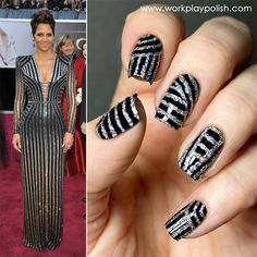 Fashion Week (Aug Atelier Versace Inspired Mani using an INGLOT Sparkling Nail Enamel striper over black polish Nail Polish Art, Nail Polish Designs, Nail Designs, Hot Nails, Hair And Nails, Subtle Nails, Great Nails, Amazing Nails, Nice Nails