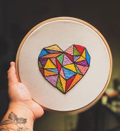 Hand Embroidery For Beginners - Embroidery Hearts, Embroidery Bracelets, Hand Embroidery Stitches, Embroidery Hoop Art, Hand Embroidery Designs, Cross Stitch Embroidery, Machine Embroidery, Geometric Embroidery, Embroidery Sampler