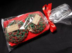 Christmas Kitchen Gift Set Handmade Scrubbies & Cotton Dishcloths by TheLotusShop