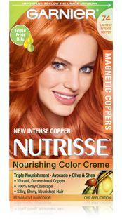 Nutrisse 74 Lightest Intense Copper - All For Hair Color Trending Copper Hair Dye, Red Copper Hair Color, Bold Hair Color, Copper Red, Ginger Hair Dyed, Honey Hair, Box Hair Dye, Dye My Hair, Garnier Hair Color