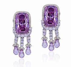 These earrings by are beyond exquisite! Diamond Jewelry, Gemstone Jewelry, Diamond Earrings, Lotus Jewelry, Purple Jewelry, Amethyst Earrings, Pearl Earrings, Titanic Jewelry, Fantasy Jewelry
