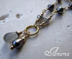 14k gold fill labradorite and freshwater pearl necklace by Amaria
