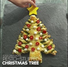 Best Holiday And Christmas Food Stories With Recipes - Party snacks - Pesto-Stuffed Christmas Tree - Christmas Tree Food, Christmas Snacks, Xmas Food, Christmas Appetizers, Christmas Cooking, Christmas Goodies, A Christmas Story, Appetizers For Party, Holiday Treats
