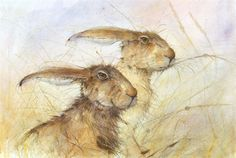 Two Rabbits by Kate Wyatt 'I am truly passionate about my work and my art. I enjoy drawing creatures in their natural habitat whenever possible. I mainly work with watercolours, but I do also like working with other mediums: coloured pencils, inks, graphite and charcoal to gain a slightly different approach and representation of what I see. The challenge of working with a combination of t different mediums is very interesting for me.'