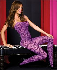 Purple Zebra Print Bodystocking