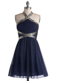 Fond of Formal Dress - Sheer, Woven, Mid-length, Blue, Silver, Sequins, Cocktail, A-line, Halter, Better, Prom