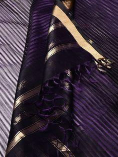 Purple-Golden Maheshwari Silk-Cotton Dupatta on Jaypore.com