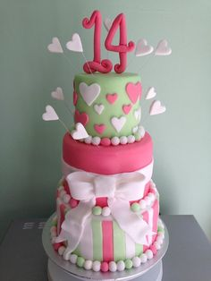 My 3 tiered birthday cake for a 14 year old girl