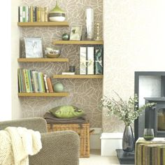 Below are the Floating Shelves Decoration For Living Room. This post about Floating Shelves Decoration For Living Room was posted under the Furniture category by our team at May 2019 at pm. Hope you enjoy it and don't . Niche Living, New Living Room, Living Room Decor, Bedroom Decor, Living Room Nook Decorating Ideas, Decorating Small Spaces, Alcove Decor, Alcove Ideas Bedroom, Wall Nook