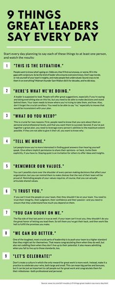 SEO Marketing Ideas 9 Things Great Leaders Say Every Day 9 things great leaders say everyday, leadership, inspiration, success People judge you by what you do--and by what you say. Here are nine phrases that should roll off your lips every single day. Life Skills, Life Lessons, Piano Lessons, Coaching Personal, Leadership Skill, Effective Leadership, Examples Of Leadership, What Is Leadership, Leadership Development