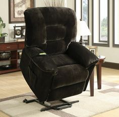 Mabel collection chocolate textured champion microfiber upholstered power lift recliner chair