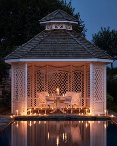 A gorgeous spot to enjoy warm spring evenings by Mckinnon and Harris. Pergola Canopy, Gazebo, Garden Structures, Outdoor Structures, Warm Spring, Round Dining Table, Dining Chairs, Pergola Designs, Exterior Design
