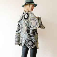 This cardigan is a comfortable choice for all seasons.  The cardigan fits sizes S-M-L. Its 75cm (29.5 in) long and 148cm (58.3 in) wide.  Please keep in mind it will take up to 3 weeks to make one