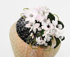 White Wedding Fascinator - Black Fascinator - Cotillion Hat - Derby Hat - Birdcage Veil - Bridal Headpiece - Garden Party Hat - Beatrice